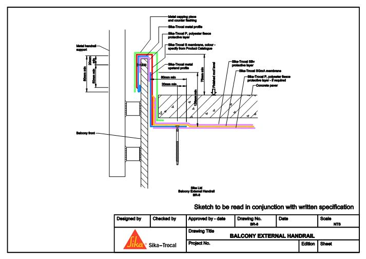 Fastrackcad cad details for Balcony upstand