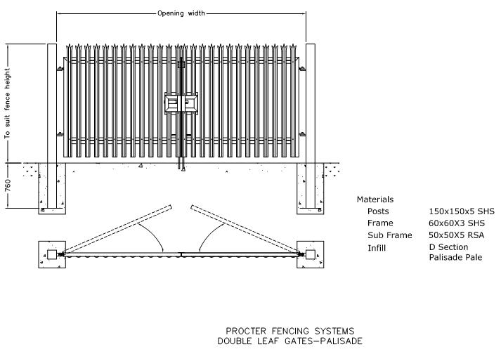 sliding gate plans free. DWG  Double Leaf Gates Palisade CAD drawings in AUTOCAD format