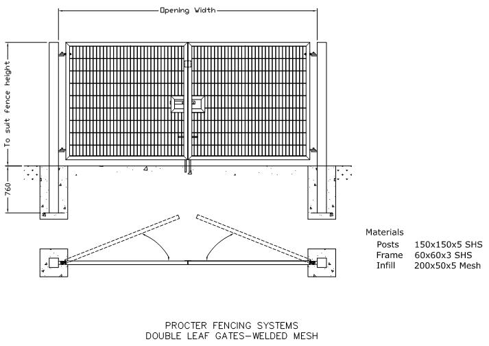 sliding gate plans free. DWG  Double Leaf Gates Welded Mesh CAD drawings in AUTOCAD format